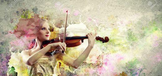 17494729-Image-of-beautiful-female-violinist-playing-against-splashes-background-Stock-Photo