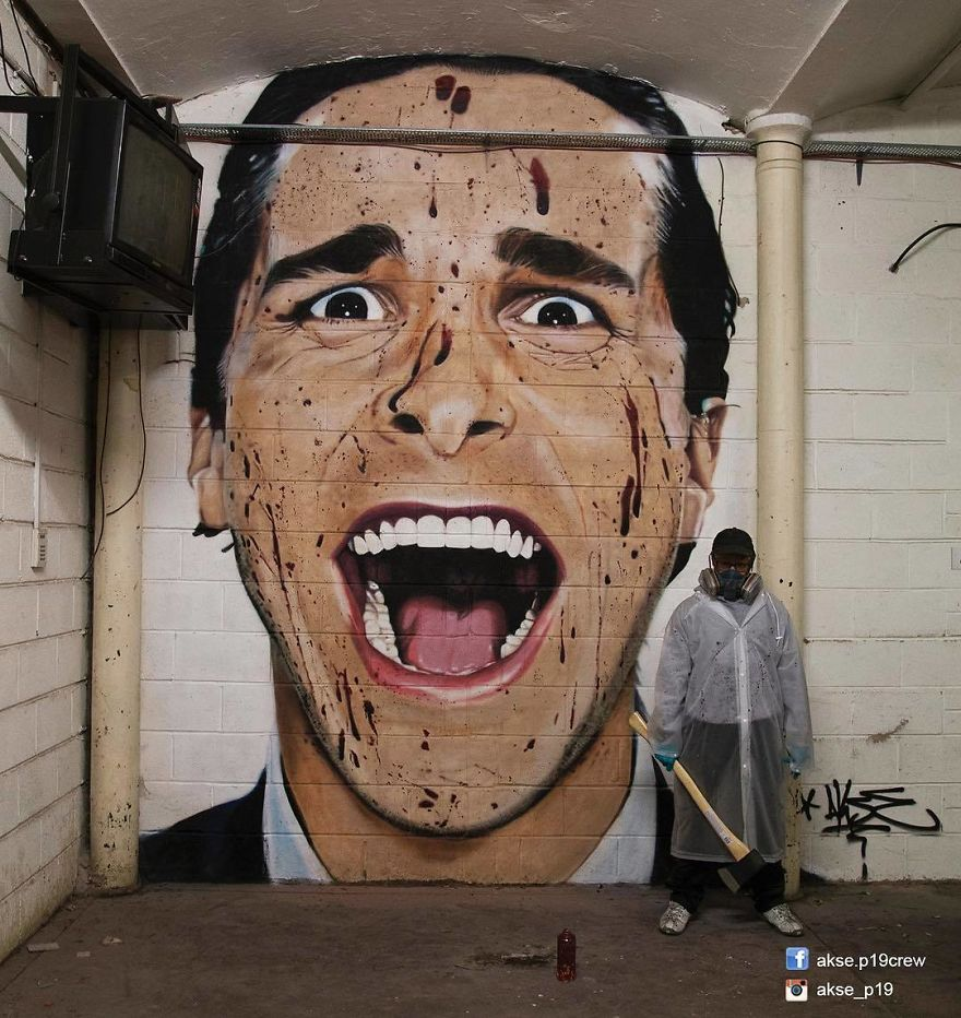 ინგლისელი ქუჩის მხატვარი კედლებზე ცნობილ სახეების უზარმაზარ პორტრეტებს ხატავს: ნახეთ ფოტო-კოლაჟი